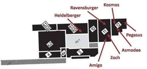 Bild von Verlagsstandorte der bisher erwähnten Spiele